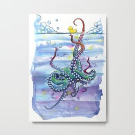 Bath Time Octopus Metal Print