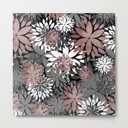 Pretty rose gold floral illustration pattern Metal Print