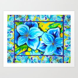 Blue Poppies 3 with Border Art Print