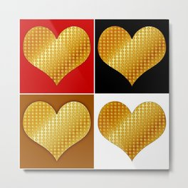 Golden hearts-Collage Metal Print