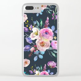Colorful Watercolors Flowers Pattern Clear iPhone Case