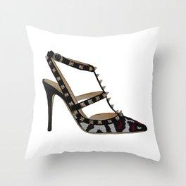 Leopard Valentino Rockstud pumps fashion illustration pink  Throw Pillow