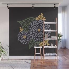 Dark Geometric Flower Wall Mural