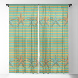 """""""Lines with Starfish in Turquoise and Mustard"""" Sheer Curtain"""