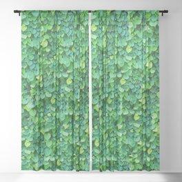 Green leaves pattern Sheer Curtain