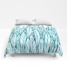 pattern of blue leaves, grass, feathers Comforters
