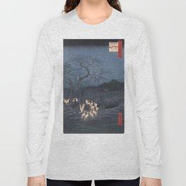 Utagawa Hiroshige - New Year's Eve Foxfires at the Changing Tree Long Sleeve T-shirt