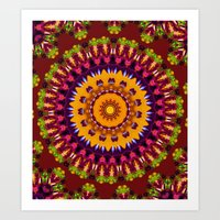 Lovely Healing Mandalas in Brilliant Colors: Brown, Wine, Green, Pink, Mustard, and Burnt Orange Art Print