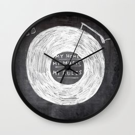 my home, my music, my rules Wall Clock