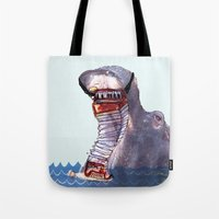 hippo Tote Bags featuring Hippo by MGNFQ