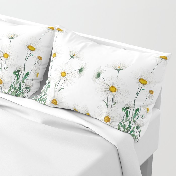 white Margaret daisy watercolor Pillow Sham