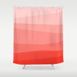 Diagonal Living Coral Gradient Shower Curtain