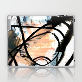 It comes and goes - a black and white abstract mixed media piece with pink details Laptop & iPad Skin