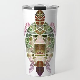 green mosaic turtle Travel Mug