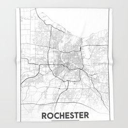 Minimal City Maps - Map Of Rochester, New York, Untited States Throw Blanket