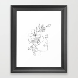 Minimal Line Art Woman Face II Framed Art Print