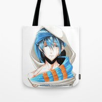 iwatobi Tote Bags featuring Free! Iwatobi Swim Club Haruka by Mistiqarts