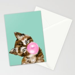 Bubble Gum Baby Cat in Green Stationery Cards