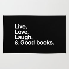 Live Love Laugh and Good Books Rug