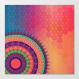 Ethnic Mandala on geometric pattern Canvas Print