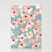 bedding Stationery Cards featuring Shabby Chic Hibiscus Patchwork Pattern in Peach & Mint by micklyn