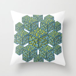 Cubed Mazes Throw Pillow