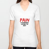 pain V-neck T-shirts featuring Pain by Spooky Dooky