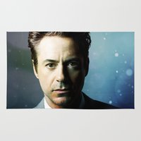 robert downey jr Area & Throw Rugs featuring Robert Downey Jr 001 by TheTreasure