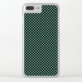 Black and Spearmint Polka Dots Clear iPhone Case