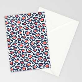 Abstract Leopard Print in Coral and Navy Blue Stationery Cards