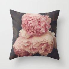 Pink Peony Trio Throw Pillow
