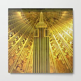 Empire State Building Lobby Art-Deco Sunburst Portrait Metal Print