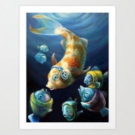 Easy Listening Streaker Fish Among the Sweater Fish Art Print
