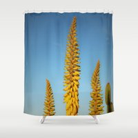 sword Shower Curtains featuring Yellow Sword by Mae2Designs