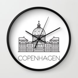 Marble Church Copenhagen Denmark Black and White Wall Clock