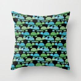 Turtle Pattern (Black/Blue/Green) Throw Pillow
