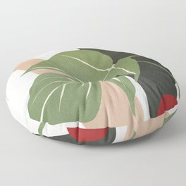 Abstract Monstera Leaf Floor Pillow