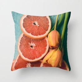Grapefruit and Tulips Throw Pillow