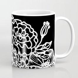 White Linocut Flowery Wreath On Black Coffee Mug