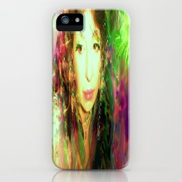 Fairy feather head dress fairy goddess green feathers belly dancer kashmir,art print iPhone Case