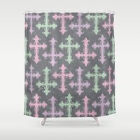 pastel goth Shower Curtains featuring Pastel Goth | Grunge Grey by Glitterati Grunge