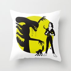Alien Cartoon Style - Green Throw Pillow