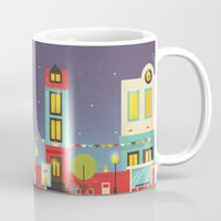 street Mugs featuring street by Isabel Sousa