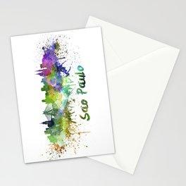 Sao Paulo skyline in watercolor splatters Stationery Cards