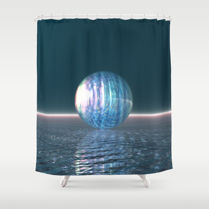 Glowing Blue Sphere Shower Curtain