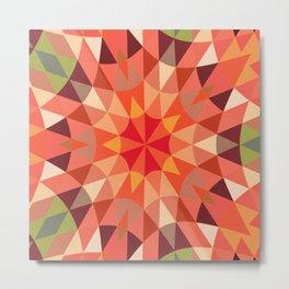 Peach Retro Geometry Metal Print