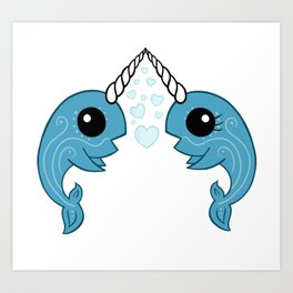 Narwhals in love Art Print