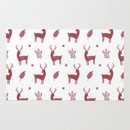 Christmas Red Reindeers Rug