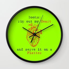 (Green) Books: Rip Out My Heart Wall Clock
