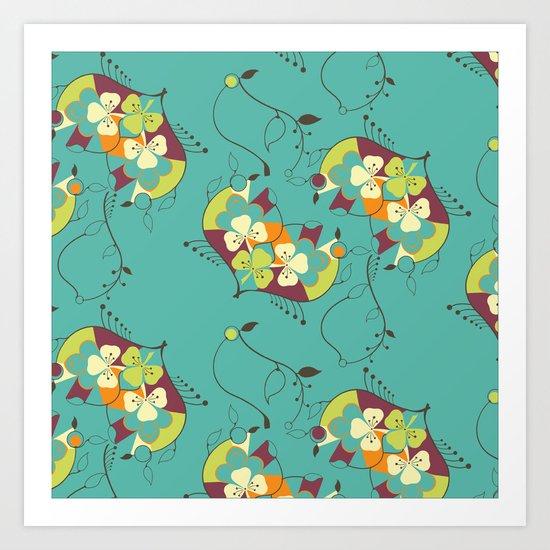Flower hearts pattern Art Print